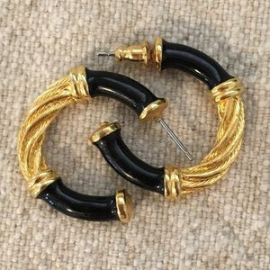 Gold Black HOOPS Vintage '80s '90s Earrings